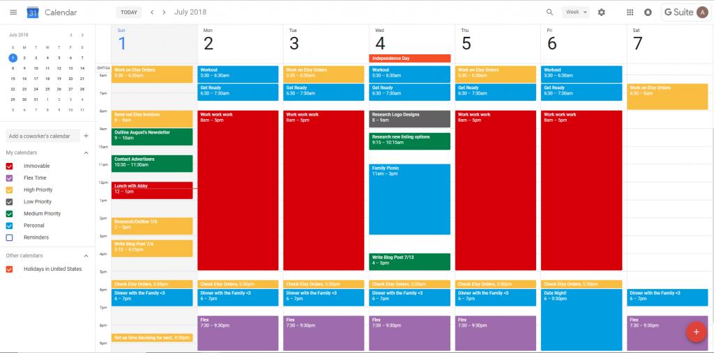 Time Blocking Basics Example Calendar